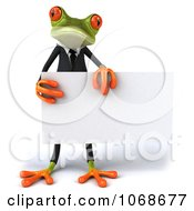 Clipart 3d Springer Frog In A Tux With A Sign 2 Royalty Free CGI Illustration