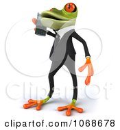 Clipart 3d Springer Frog In A Tux With A Cell Phone 2 Royalty Free CGI Illustration