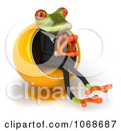 Clipart 3d Springer Frog Pondering In A Chair 2 Royalty Free CGI Illustration