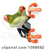 Clipart 3d Springer Frog In A Tux With A Sign 4 Royalty Free CGI Illustration