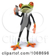 Clipart 3d Springer Frog In A Tux With A Cell Phone 1 Royalty Free CGI Illustration