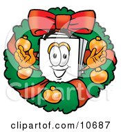 Clipart Picture Of A Paper Mascot Cartoon Character In The Center Of A Christmas Wreath by Toons4Biz