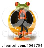 Clipart 3d Springer Frog Pondering In A Chair 1 Royalty Free CGI Illustration