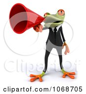 Clipart 3d Springer Frog Announcing In A Tux 1 Royalty Free CGI Illustration
