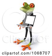 Clipart 3d Springer Frog Holding A Laptop 2 Royalty Free CGI Illustration