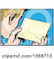 Clipart Pop Art Man Reading A Message Royalty Free Vector Illustration by brushingup #COLLC1068713-0171