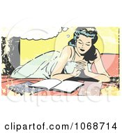 Grungy Pop Art Woman Reading On A Bed