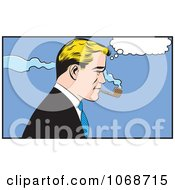 Clipart Pop Art Businessman Smoking A Pipe Royalty Free Vector Illustration by brushingup