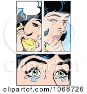 Clipart Pop Art Women Crying And Talking On The Phone Royalty Free Vector Illustration by brushingup