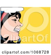 Clipart Pop Art Black Haired Woman Talking 2 Royalty Free Vector Illustration by brushingup