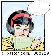 Clipart Pop Art Woman Hugging Papers And Thinking Royalty Free Vector Illustration by brushingup #COLLC1068729-0171