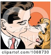 Clipart Pop Art Couple Kissing Over Orange Royalty Free Vector Illustration by brushingup