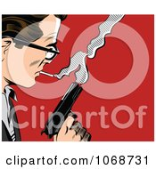Clipart Pop Art Man With A Gun Royalty Free Vector Illustration by brushingup