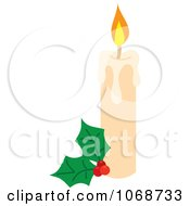 Clipart Christmas Candle And Holly Royalty Free Vector Illustration by Rosie Piter