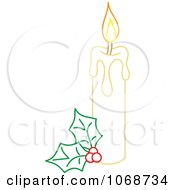 Christmas Candle And Holly Outline