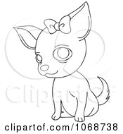 Clipart Outlined Female Chihuahua With A Bow Royalty Free Vector Illustration