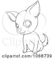 Clipart Outlined Chihuahua Sitting Royalty Free Vector Illustration by Rosie Piter