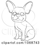 Outlined French Bulldog Sitting