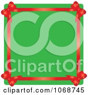 Red Ribbon Border And Green Christmas Copyspace
