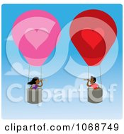 Clipart Boy And Girl Finding Love In Hot Air Balloons Royalty Free Vector Illustration