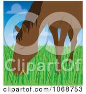 Clipart Horse Grazing In A Field Royalty Free Vector Illustration by Rosie Piter