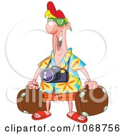 Clipart Male Tourist With Luggage Royalty Free Vector Illustration
