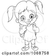 Clipart Outlined School Girl Royalty Free Vector Illustration by yayayoyo