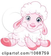 Clipart Sitting Pink Lamb Royalty Free Vector Illustration