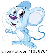 Clipart Cute Blue Mouse Presenting Royalty Free Vector Illustration by yayayoyo