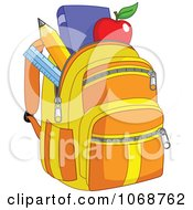 Clipart School Bag With Items Royalty Free Vector Illustration