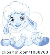 Clipart Sitting Blue Lamb Royalty Free Vector Illustration