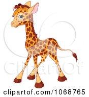 Clipart Baby Giraffe Standing Royalty Free Vector Illustration by Pushkin