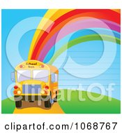 Clipart School Bus Against A Ruled Rainbow Sky Royalty Free Vector Illustration by Pushkin