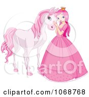 Clipart Princess Petting A Pink Horse Royalty Free Vector Illustration