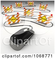 Clipart 3d Computer Mouse Cable Weaving Through Security Threats Royalty Free CGI Illustration by stockillustrations