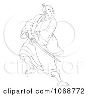 Sketched Samurai Warrior Fighting 4