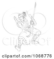 Sketched Samurai Warrior Fighting 3