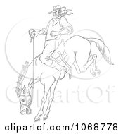 Clipart Sketched Cowboy On A Bucking Bronco Royalty Free Illustration
