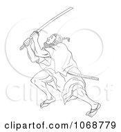 Sketched Samurai Warrior Fighting 1