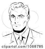 Clipart Pop Art Businessman Black And White Royalty Free Vector Illustration by brushingup