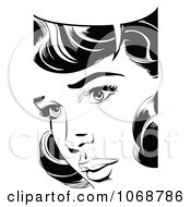 Clipart Pop Art Talking Woman In Black And White 1 Royalty Free Vector Illustration