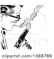 Clipart Pop Art Man With A Cigarette And Gun Black And White Royalty Free Vector Illustration by brushingup #COLLC1068789-0171