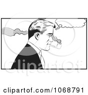 Clipart Pop Art Man Smoking A Pipe Black And White Royalty Free Vector Illustration by brushingup