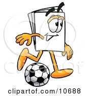 Clipart Picture Of A Paper Mascot Cartoon Character Kicking A Soccer Ball by Toons4Biz