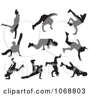 Clipart Black And White Hip Hop B Boy Dancer Silhouettes Royalty Free Vector Illustration