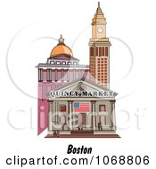 Clipart Boston Massachusetts City Scene At Quincy Market Royalty Free Vector Illustration by Andy Nortnik