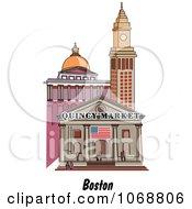 Clipart Boston Massachusetts City Scene At Quincy Market Royalty Free Vector Illustration