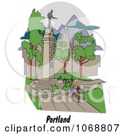 Clipart Portland Oregon City Scene At Lownsdale Square Royalty Free Vector Illustration