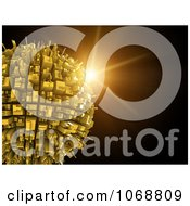 Clipart Sunburst Behind A 3d Urban Globe Royalty Free CGI Illustration by chrisroll