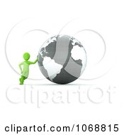 Clipart 3d Green Guy Leaning Against A Gray Globe Royalty Free CGI Illustration